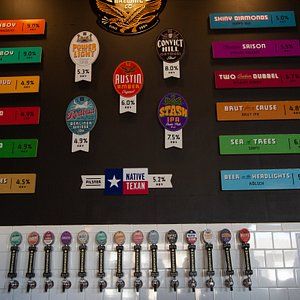 Independence Brewing tap wall features year round, seasonal and experimental beers.