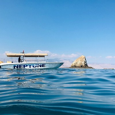 This is one of our boats parked in front of our location at Dibba Rock, 3 minutes away from us
