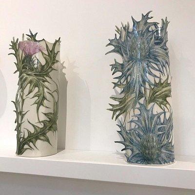 Ceramic vases by designer maker Justine Munson at the Sussex Guild Shop & Gallery