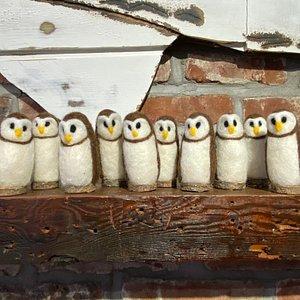 "Cute ""Felt Owls"" on Ohanga Newport Fireplace Mantle"