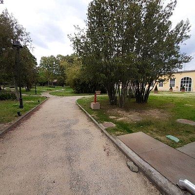 vista dall'ingresso con a destra la Villa sede della Biblioteca Comunale