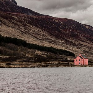 The Pink House at Loch Glass