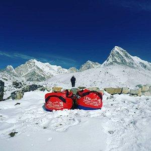 Gorakchep village view includes Mt.Pumori The duffel's bags from Life Himalaya.