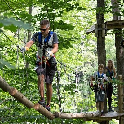 Navigate over bridges during your 3 Hr Aerial Adventure at Sky High Adventure Park! Fun for the whole family.