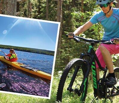 Många kommer till Hemsön och Höga Kusten för att ha en aktiv semester, bl.a. paddla kajak eller cykla på stigar.