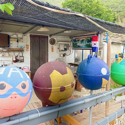 Several houses in the remote Sai Wan village have been decorated with a sense of fun or have been in bright, cheerful patterns and colours.