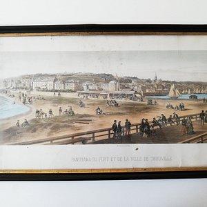 """""""PANORAMA DU PORT ET DE LA VILLE DE TROUVILLE"""" Cromolithograph par Isidor Laurent (1797-1886)"""