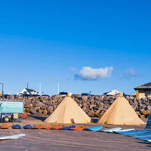 Our Beach Set-up- Ready to welcome you for your surfing experience!