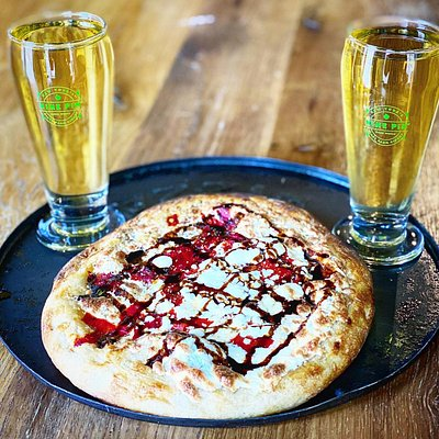 Two Nine Pin ciders and a personal pizza.