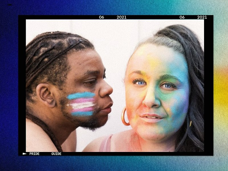 Alysse Dalessandro Santiago and Giovonni Santiago with rainbow pride face paint and trans pride face paint