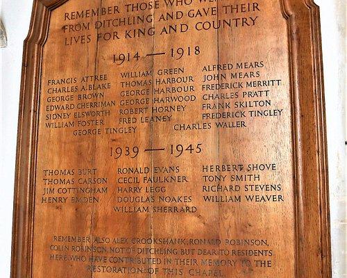 10.  Ditchling War Memorial, Ditchling, East Sussex;  tablet memorial in St Margaret's Church