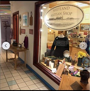 Local work made in Shetland, including pottery, knit wear, paintings and wood work.