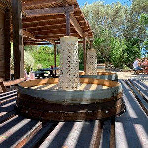 Handcrafted table made from barrels