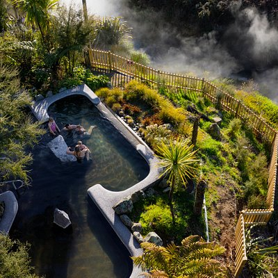 The Garden Pool at Waikite Valley Thermal Pools, beautifully landscaped with views over the steaming river and Waikite Valley.