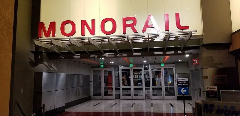 Monorail station sign for the Las Vegas Monorail