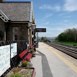Small railway station with beautiful scenery in the Yorkshire dales.