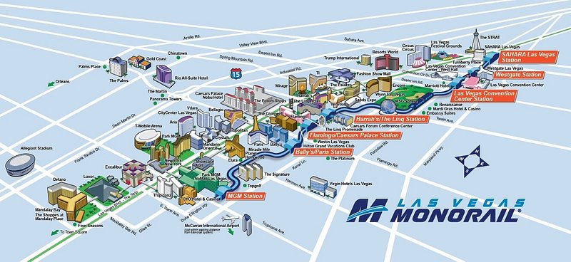 illustrated map of the Las Vegas Monorail map