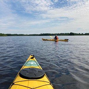 Exploring the lake by kayak