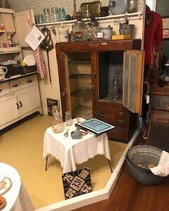Kitchen items and an ice box