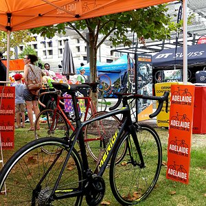 Adelaide Bike Hire display at the Tour Down Under
