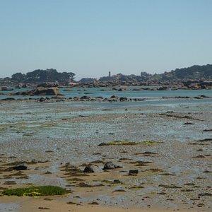 Vue sur la baie de Sainte Anne à marée basse depuis la plage. Au lointain le Château de Costaérès et le phare Men Ru. La baie de Sainte Anne lieu de repos des oiseaux marins notamment en période hivernale.