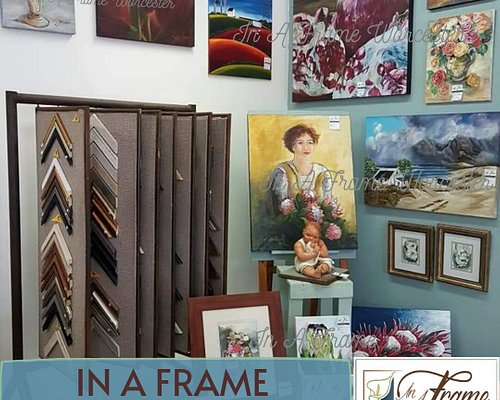 IN A FRAME, Picture Framing & Art Gallery, is situated in Q-Square, Worcester.  We frame just about anything: art, photos, needlework, certificates, maps....!  You'll find us on your way from Café Hugo to Spar.
