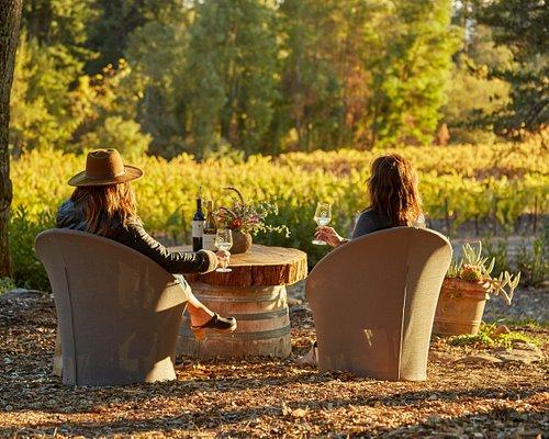 Wine tasting on the Oak Knoll at Bartholomew Estate