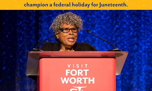 As of today, June 19 is officially recognized as Juneteenth National Independence Day, a U.S. federal holiday commemorating the end of slavery in the United States. We are honored to watch Fort Worth Civil Rights leader Ms. Opal Lee's lifelong dream and mission become a reality. Celebrate this momentous occasion with us Saturday, June 19, at Breakfast with Opal Lee in the historic Evans Avenue Plaza from 8-10 a.m.