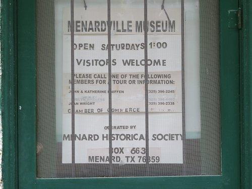 Hours of operation & contact information. Menardville Museum Train Depot, Menard, TX, May 2021