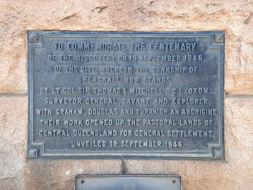 This plaque on the Sir Thomas Mitchel memorial in Blackall provides interesting historical information.