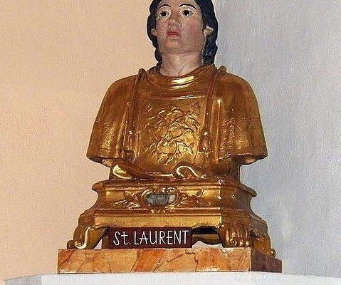 Reliquaire, buste du XVIIe siècle,  de Saint Laurent.