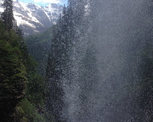 View from behind the Sprutz Waterfall not far from Mürren. takes your breath away. Need sturdy shoes as the path is a bit slippery alhtough there is  rail.