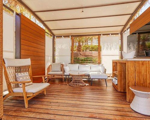 Cabana and inside lounge seating.