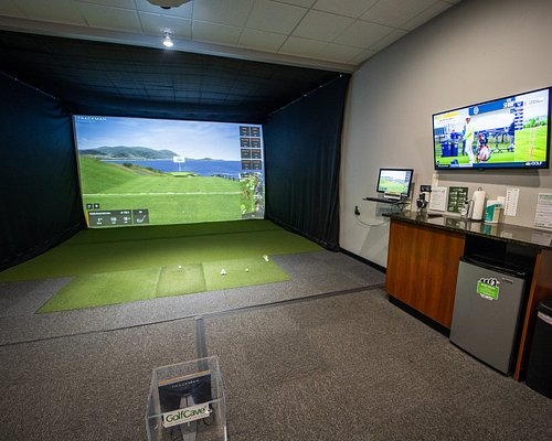 """GolfCave is a """"bring your own"""" facility. Stock up the mini fridge and enjoy your round."""