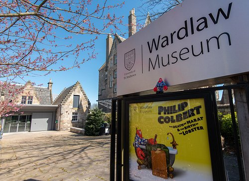 Wardlaw Museum entrance with advertisement for opening exhibition - Philip Colbert:  The Death of Marat & the Birth of the Lobster