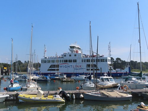 IOW ferry passing yachts in the harbour