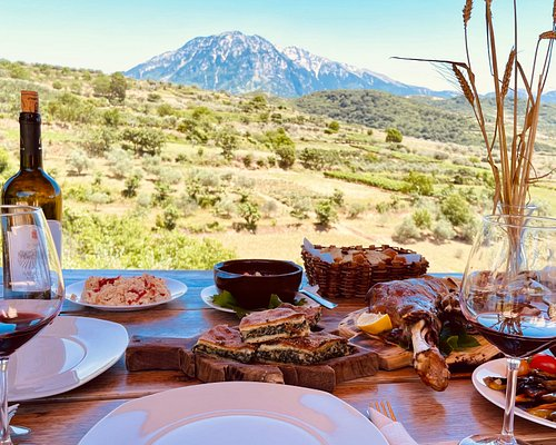 Trditional food , red wine , mountain view