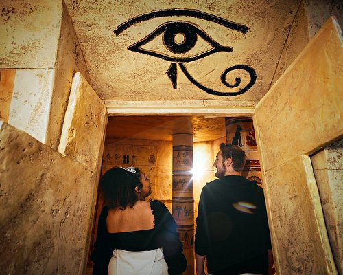 Players entering the tomb doors. Egyptian Exodus escape room at The Escapement