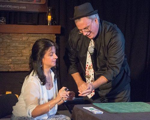 Sean Doolan performing close-up magic at the Parlor of Mystery in Lindenhurst, NY