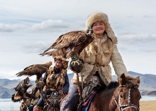 Eagle huntress Aisholpan during the Golden Eagle festival