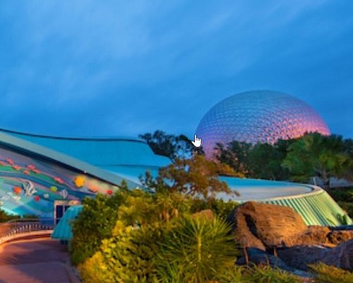 View of the Epcot ball from Nemo and Friends