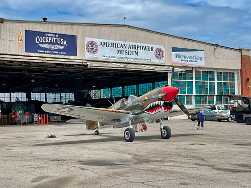 """The American Airpower Museum World War Two Curtiss P-40M """"Warhawk"""" on display on our flight line summer 2021. The P-40 earned its legendary status with the fames Flying Tigers in the early day of WWII. Our P-40 is a regular flyer at the museum and airshows in the North East United States."""