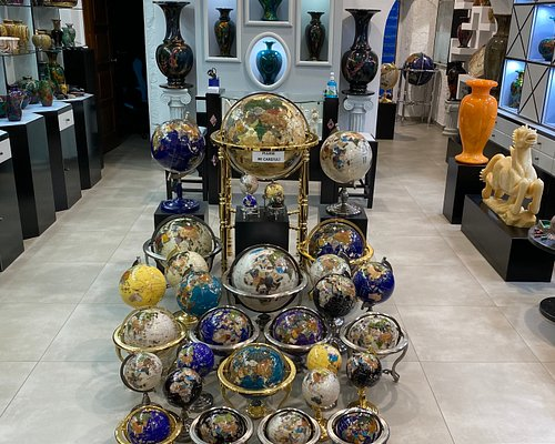 Large collection of gemstone globes
