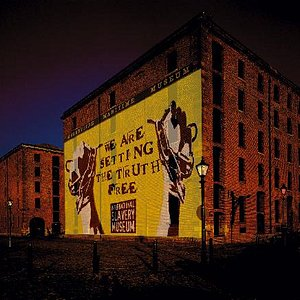 Exterior of International Slavery Museum building with projection © National Museums Liverpool