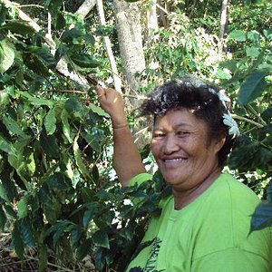 Mata Arai in her coffee plantation