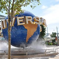 Universal Globe at the front of Theme Park