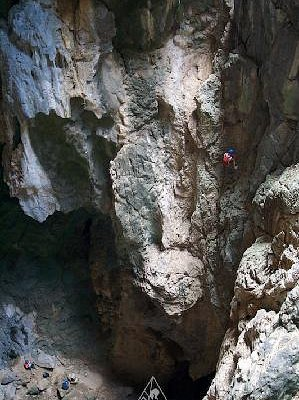 60 Meter rappel into the cave complex at Crazy Horse Buttress