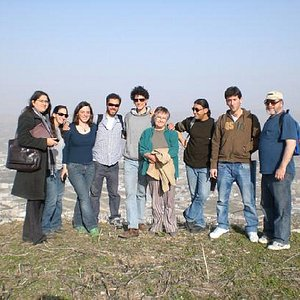 Group on top of Mount Grizim, near Nablus, the site of the Samaritan Temple