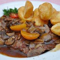 Main dish of rostbraten - delicious!