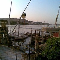 view from Emy Restaurant - Nile, rowers, Elephantine Island